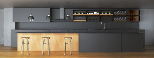 Modern dark kitchen interior